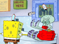 Squidward's first karate lesson catches him off guard.