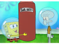 Even a shopping bag stands a decent chance against Squidward's rubbery arms and flabby midsection.