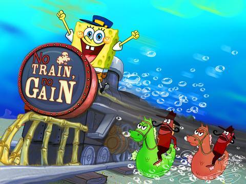 Игра Губка Боб на поезде