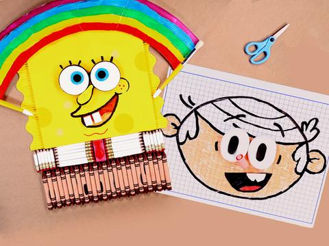 """School Supplies Stop Motion with SpongeBob and Lincoln"""