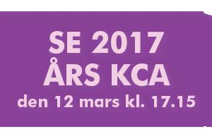 Se 2017 års KCA den 12 mars kl. 17.15