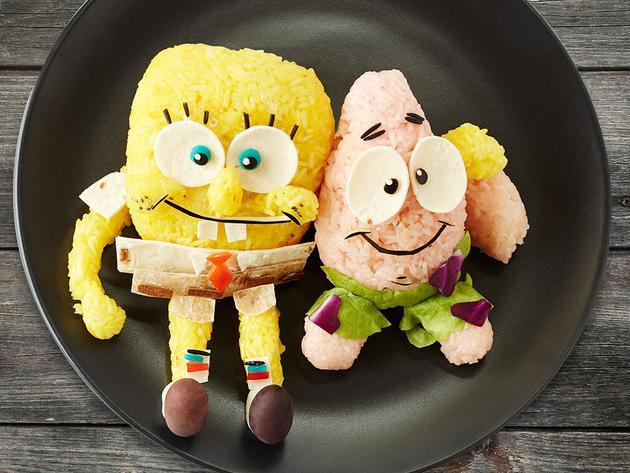 Comida saudável com SpongeBob e Patrick