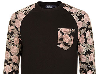 Black Rose Sleeve Patterned Sweatshirt