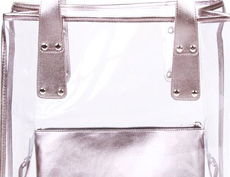 PPB Metallic Gunmetal Transparent Tote
