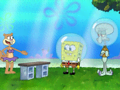 Squidward delivers a chop that will definitely break something-- probably his hand.