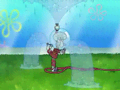 Squidward waters the lawn. Luckily this fountain doesn't shoot ink.