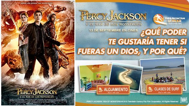 """""""PERCY JACKSON Y EL MAR DE LOS MONSTRUOS"""" TE REGALA UN VIAJE DE FIN DE SEMANA CON TU FAMILIA CON CLASES DE SURF INCLUÍDAS."""